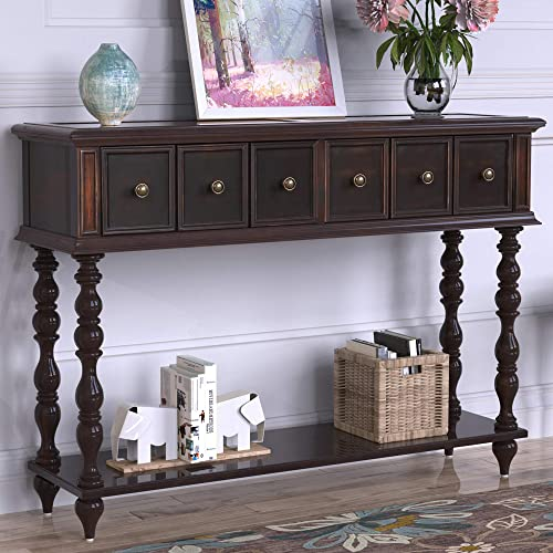 Distressed Console Table Entryway Table with Two Exquisite Drawers and Bottom Shelf Antique Design Sideboard Table,Espresso Brown