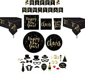 Serves 30 | Complete Party Pack | Happy New Years Eve Essentials Kit | 9