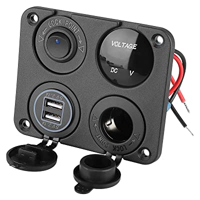 4 in 1 Charger Socket Panel, 12V 4.2A Dual USB Charger Socket Power Outlet & LED Voltmeter & Cigarette Lighter Socket & LED Lighted ON Off Rocker Toggle Switch for Car Marine Boat RV Truck (Black): Home Audio & Theater