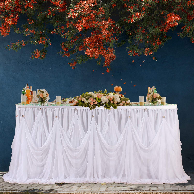 Leegleri White Tulle Tutu Table Skirt for Rectangle or Round Table Ruffle Tablecloths for Baby Shower,Elegant Party,Birthday,Wedding(6ft Table Skirt) by leegleri
