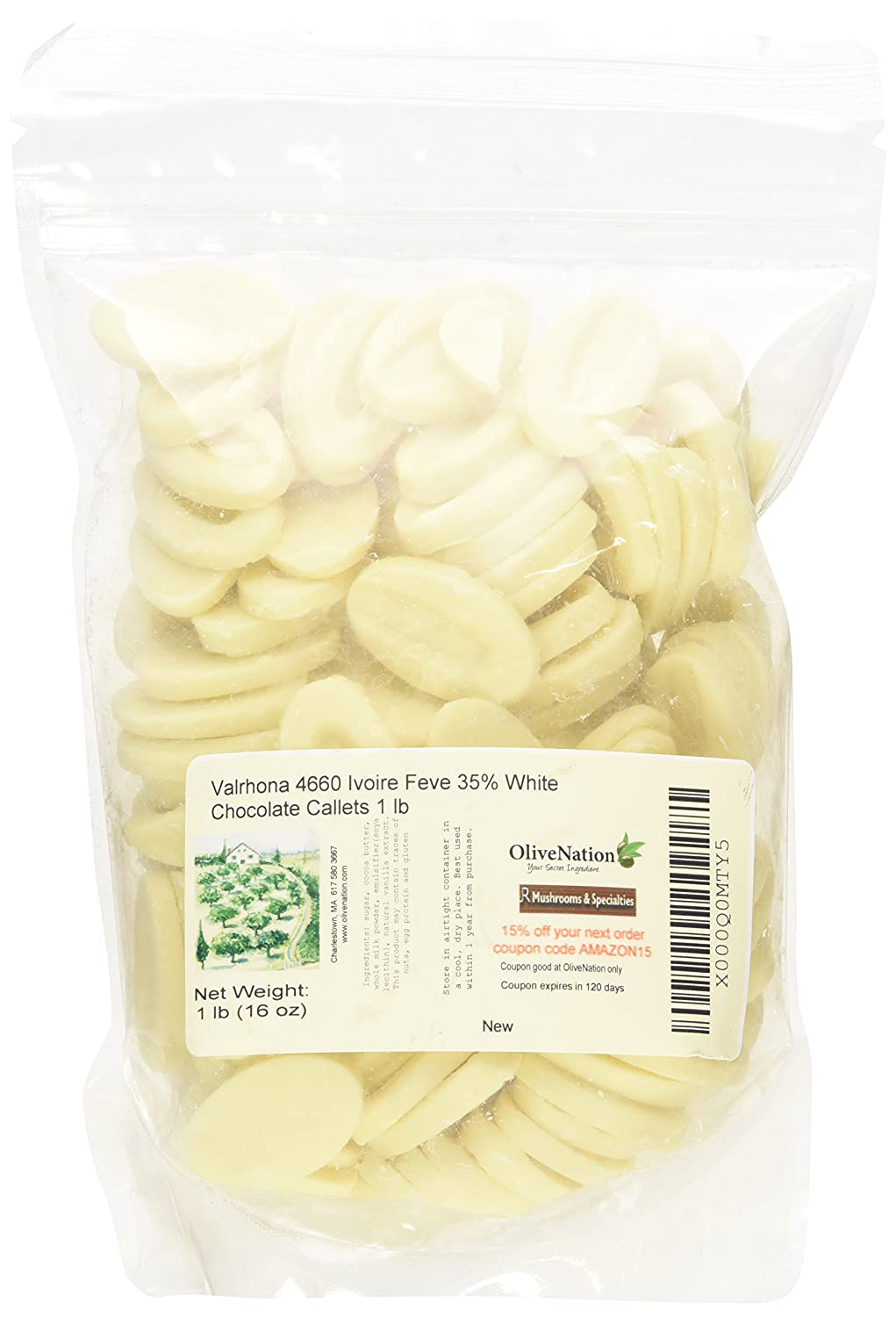 Valrhona Ivoire White Chocolate Feves (Oval Discs) from OliveNation - 1 pound