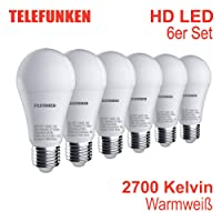 Telefunken - Lampada I E27   Set da 6 lampade I luce bianca calda I A+ I 10W I 806 lumi I 2700 Kelvin I Ra>90 I 60x120mm (DxA)