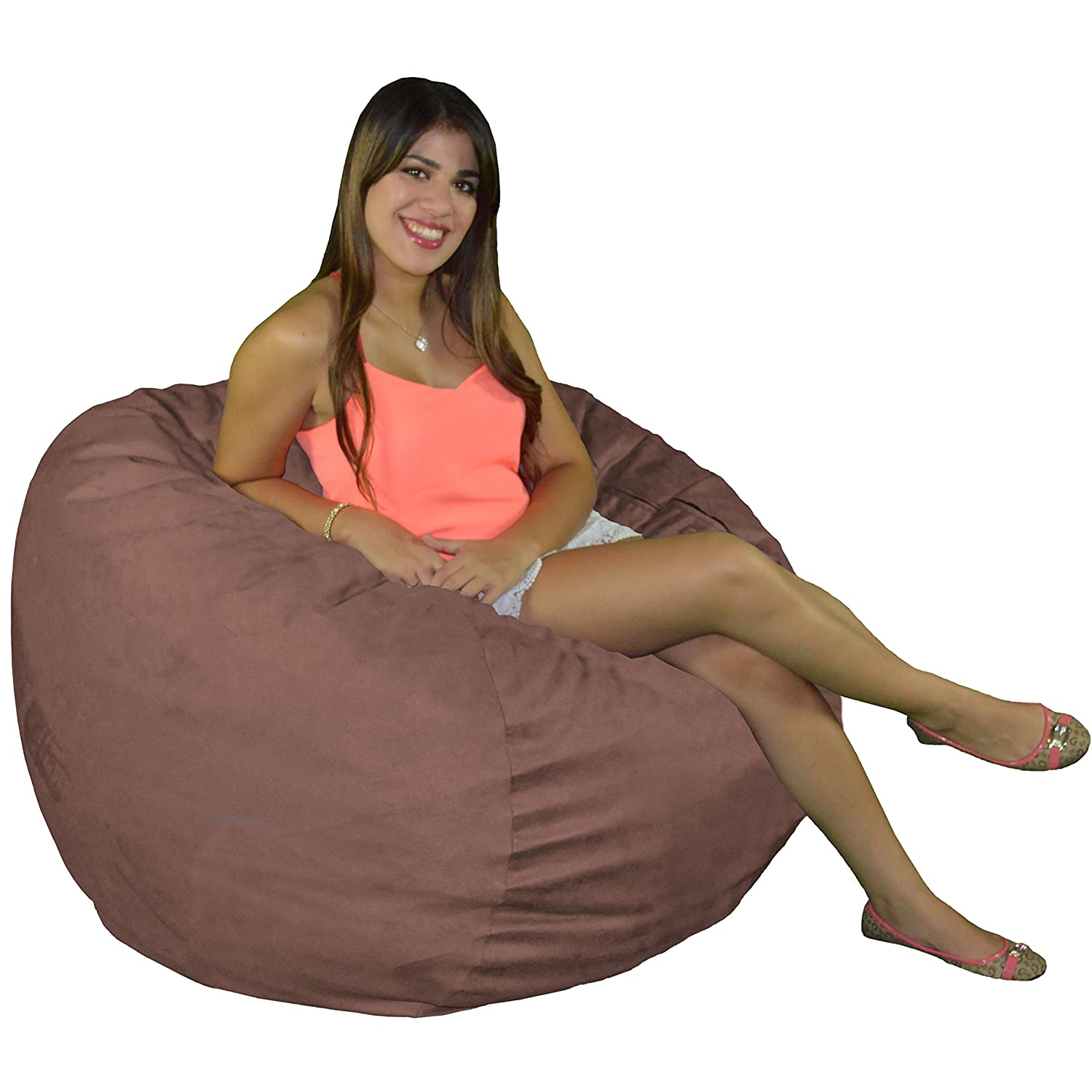 Cozy Sack Bean Bag Chair Large 4 Foot Foam Filled Bean Bag Large Bean Bag Chair, Protective Liner, Plush Micro Fiber Removable Cover – Earth