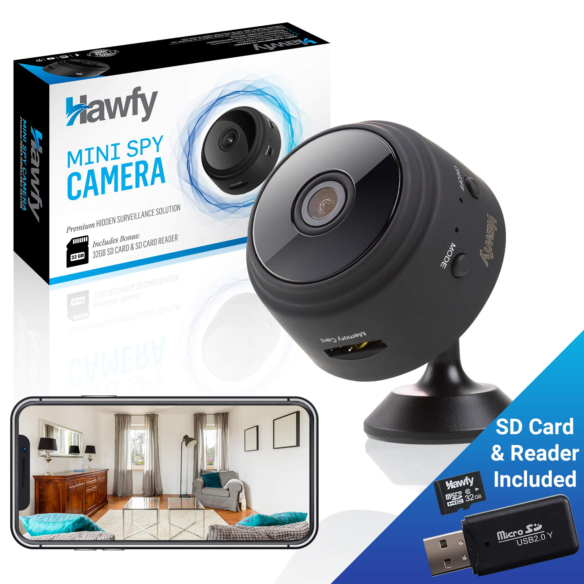 Hawfy Mini HD Wireless Hidden Camera - Magnetic Feature for Easy Installation with SD Card and Reader - Smart Motion Detection, Instant Push Notifications, Night Vision Spy Cam - Mini Spy Camera by Hawfy