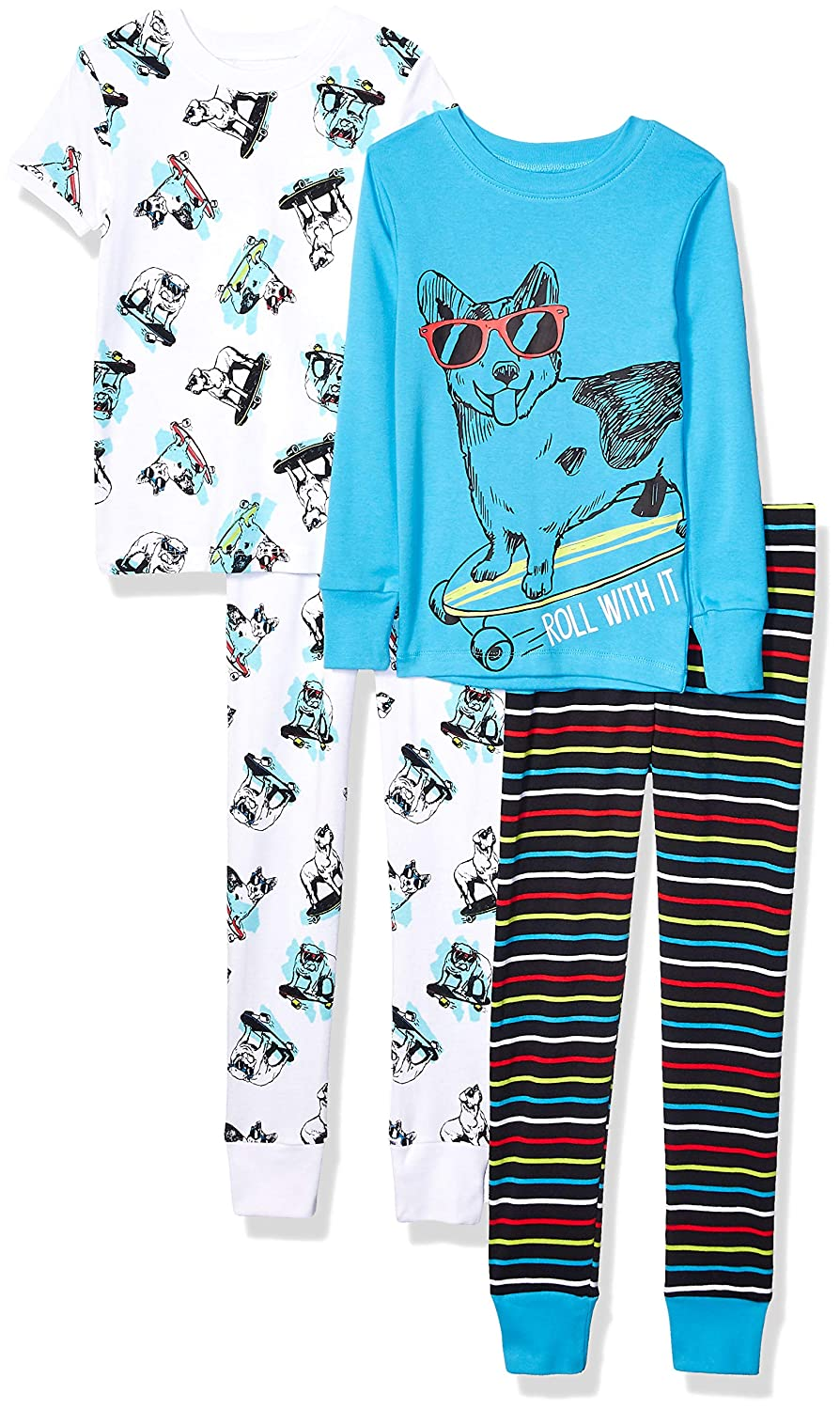 Marke Spotted Zebra Unisex Kinder 4-Piece Snug-fit Cotton Pajama Set