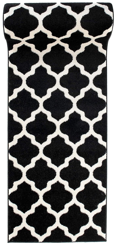 Läufer Teppich Brücke Teppichläufer - Orientalisches Marokkanische - Flur Modern Designer Muster Meterware - Casablanca Kollektion von Carpeto - Schwarz Weiß - 70 x 600 cm