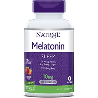 #1 Natrol Melatonin Fast Dissolve Tablets, Strawberry flavor, 10mg, 100 Count