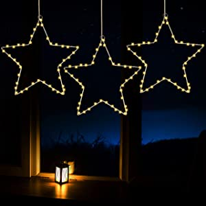 Joiedomi Star Fairy Lights Warm White 3 Pack, Waterproof for Christmas, Home, Party, Wedding, Garden, Xmas Garden Patio Bedroom Decor Indoor Outdoor Decor