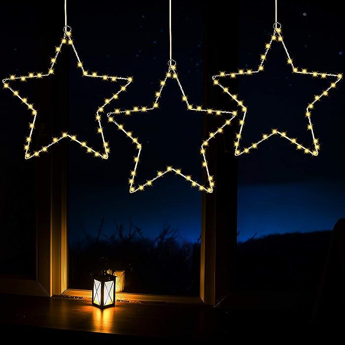 Joiedomi Star Fairy Lights Warm White 3 Pack, Waterproof for Christmas, Home, Party, Wedding, Garden, Xmas Garden Patio Bedroom Decor Indoor Outdoor Decor
