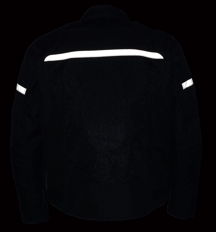 Black, Large Milwaukee Performance Mens Nylon//Mesh Combo Moto Jacket with Armor