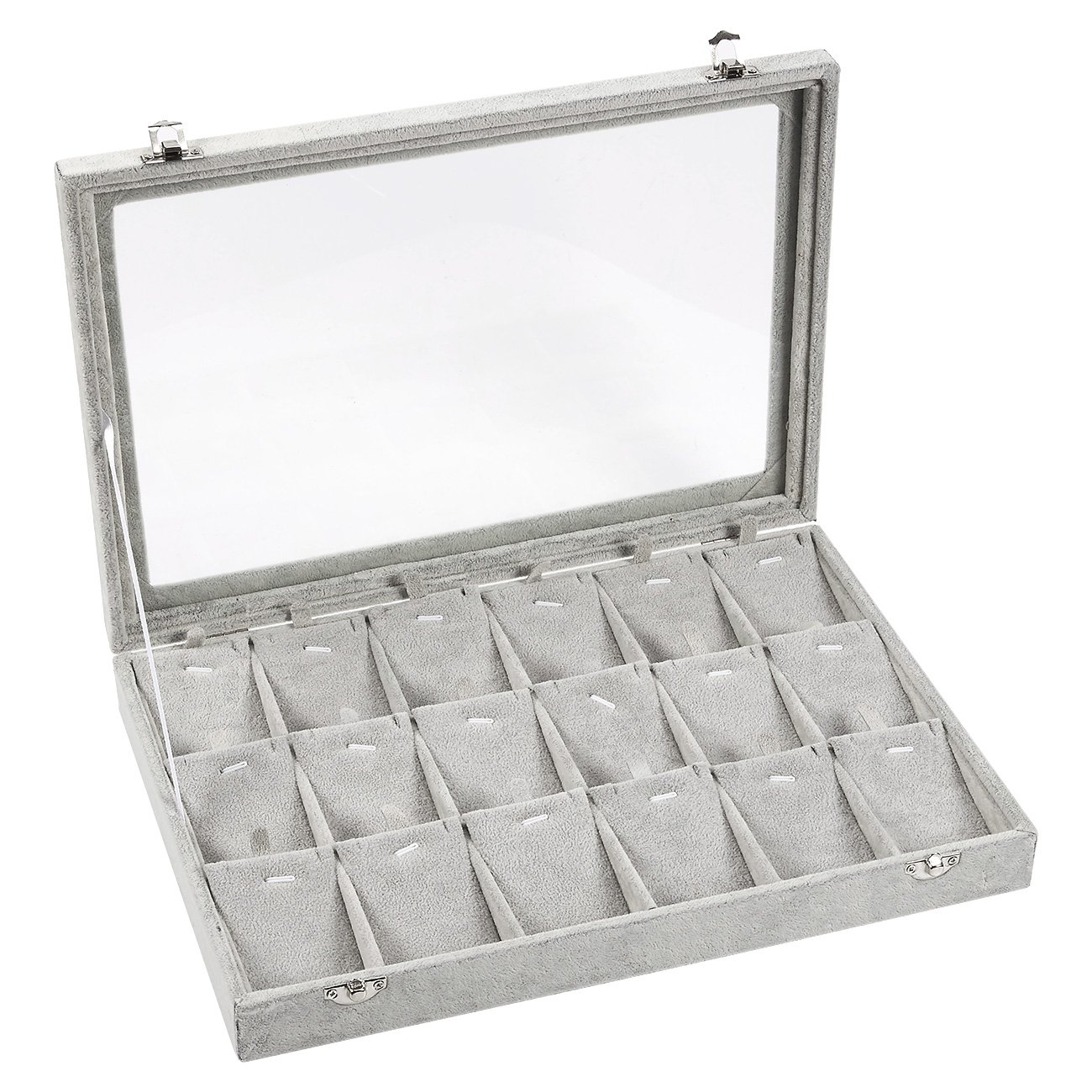 Jewelry Box – Pendant Display Case, Jewelry Holder, Storage Box for Necklaces, Pendants, Earrings with Transparent Glass Top, 18 Removable Pads, Grey - 13.75 x 2 x 9.5 Inches