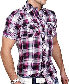 JOIN Hombre Manga Corta Polo Camisa de Cuadros Camiseta de Lila KD de 3 gr s M L XL Morado Small: Amazon.es: Ropa y accesorios