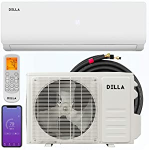 Della 12000 BTU 19 SEER Mini Split Air Conditioner Ductless Inverter System 208-230V with Heat Pump, WIFI Smart Control, Pre-Charged Condenser and 16.4-FT Installation Kit AHRI