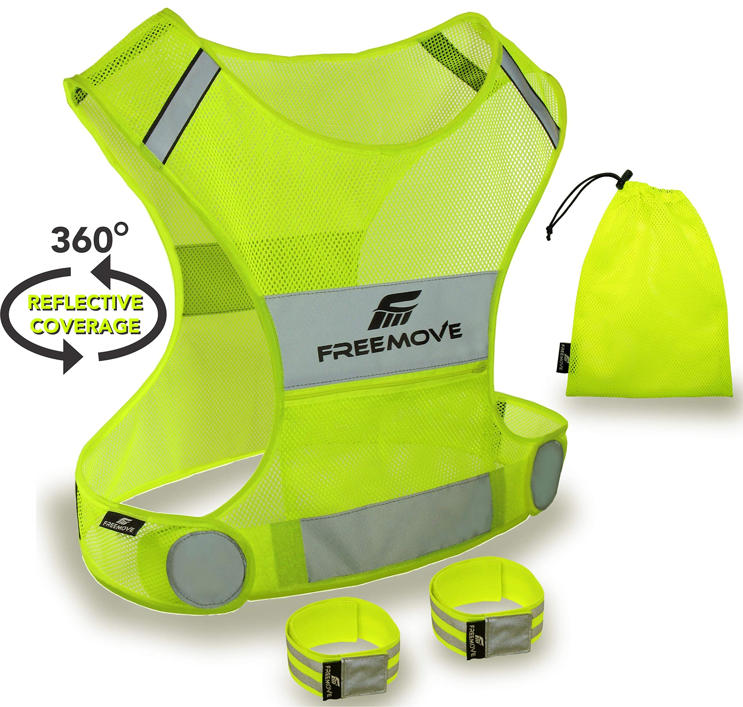 No.1 Reflective Vest Running Gear | Your Best Choice to Stay Visible | Ultralight & Comfy Motorcycle Reflective Vest | Large Pocket & Adjustable Waist | Safety Vest in 6 Sizes + Hi Vis Bands & Bag by FREEMOVE