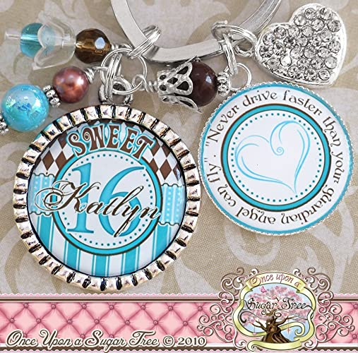 Amazon Personalized Sweet 16 Keychain 16th Birthday Gifts Custom Name Blue Brown Never Drive Faster Than Your Guardian Angel Can Fly