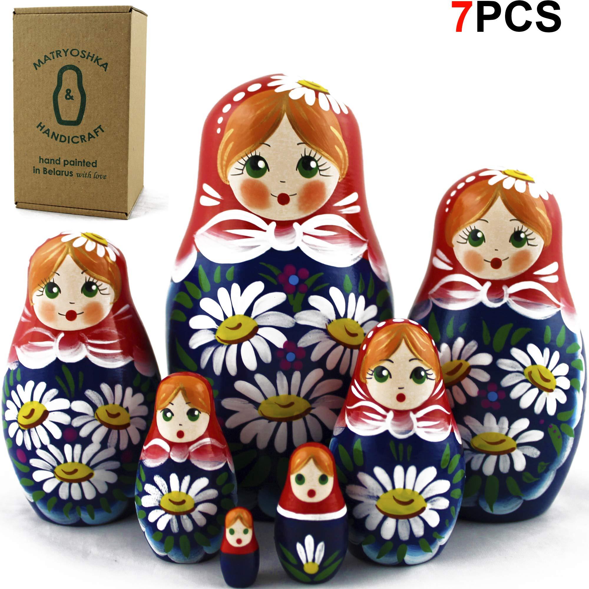 Nesting Dolls - Matryoshka Matrioskas Babushka Matruska Russian 7 Nesting Dolls for Kids - Matryoshka Russian Nesting Doll by MATRYOSHKA&HANDICRAFT