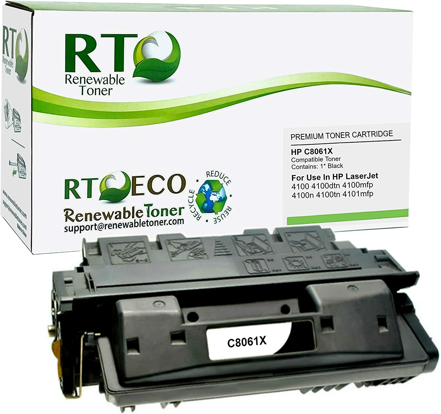 Renewable Toner Compatible High Yield Toner Cartridge Replacement for HP 61X C8061X LaserJet 4100
