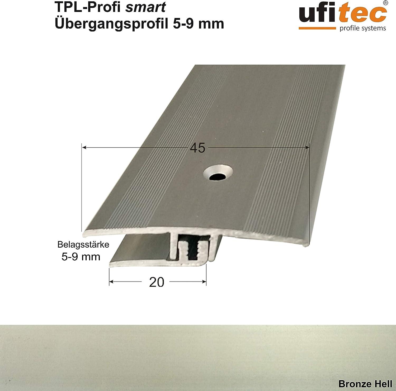 ALU eloxiert geeignet f/ür Belagsh/öhen von 5-9 mm Dehnungsfugenprofil 45 cm breit   L/änge: 270 cm, Silber ufitec/® Profi Smart Profilsystem f/ür Vinylb/öden