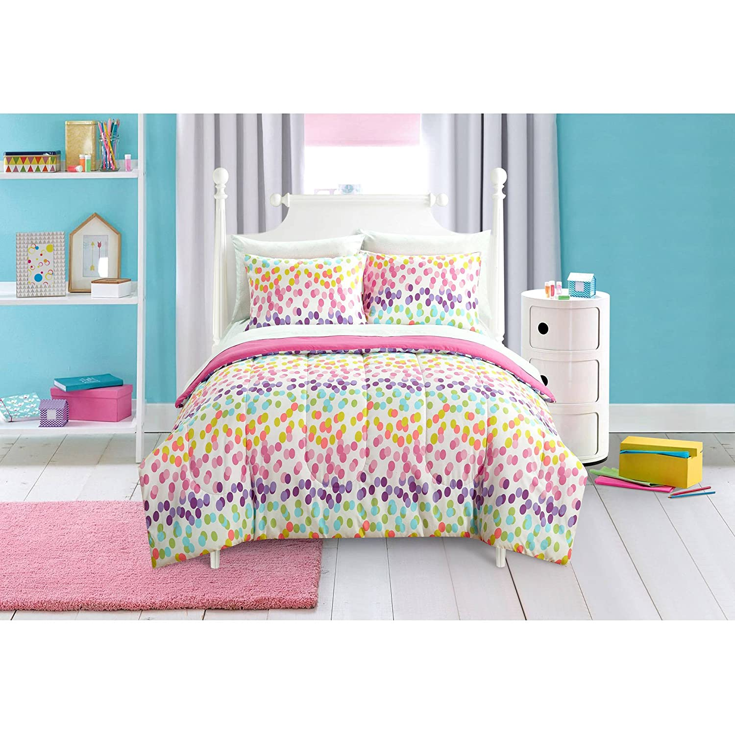 Beautiful, Super Comfortable, Machine Washable Mainstays Kids Spotty Rainbow Bed in a Bag Bedding Set, Twin