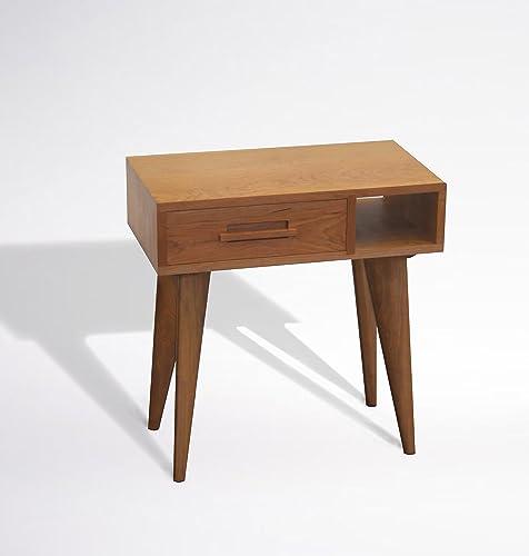 Amazon Com Modern Left Side Table Solid Cherry Wood Handmade Mid