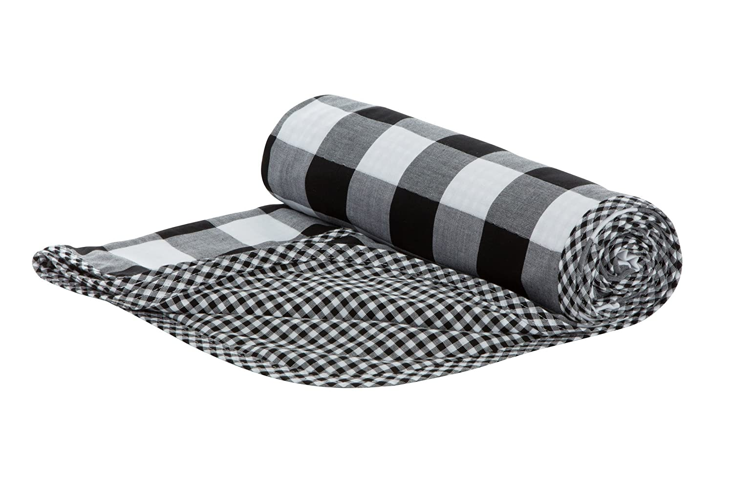 Henry and Bros. Large Double Layer Toddler Blanket, Girl Nap Blanket/Boy Nap Blanket, Light Blanket For Kids, Kids Quilt Patterns Made Of 100% Cotton (Black and White Buffalo Check) Henry and Brothers TBRRF15