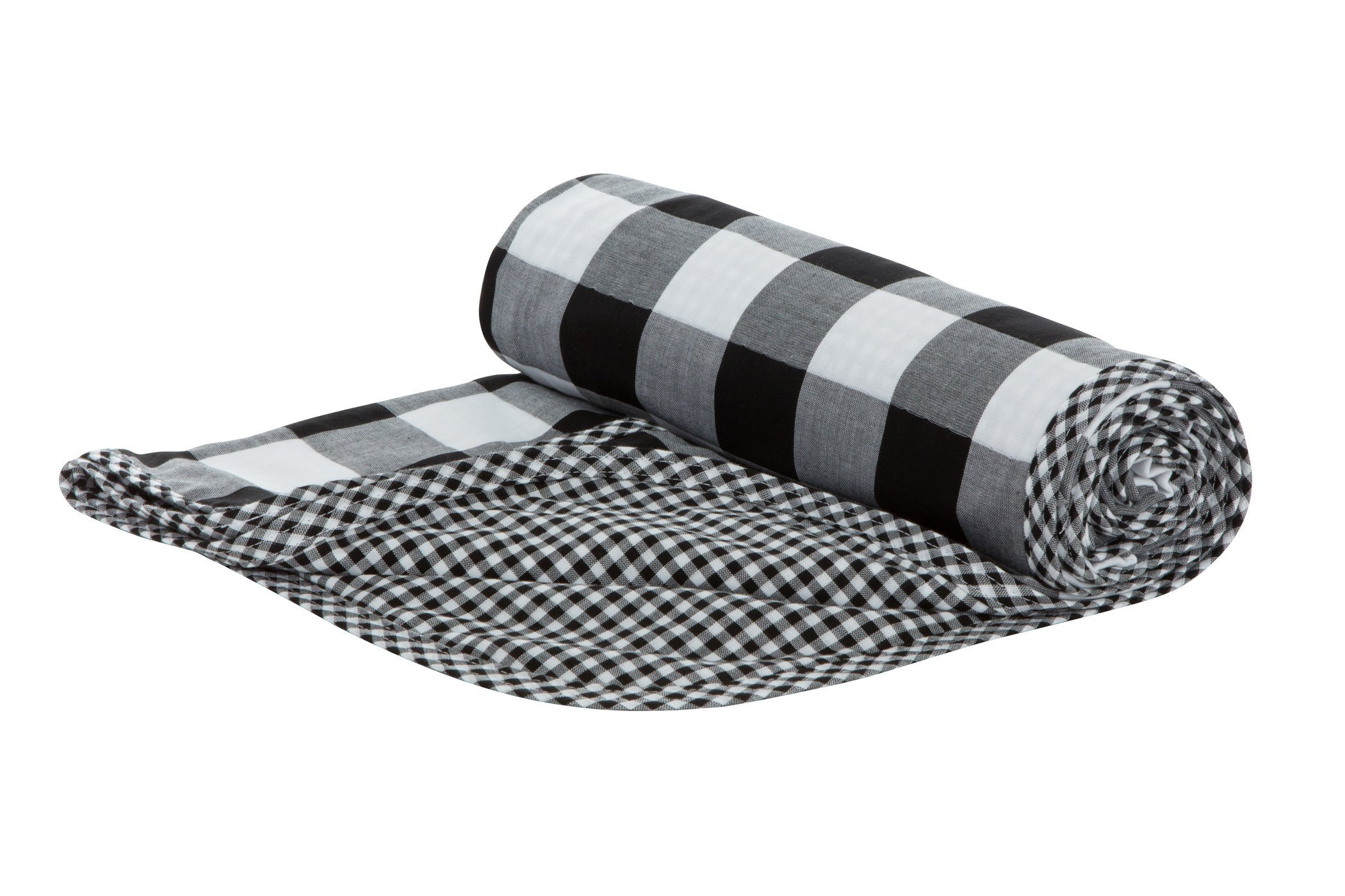 Henry and Bros. Large Double Layer Toddler Blanket, Girl Nap Blanket/Boy Nap Blanket, Light Blanket For Kids, Kids Quilt Patterns Made Of 100% Cotton (Black and White Buffalo Check)