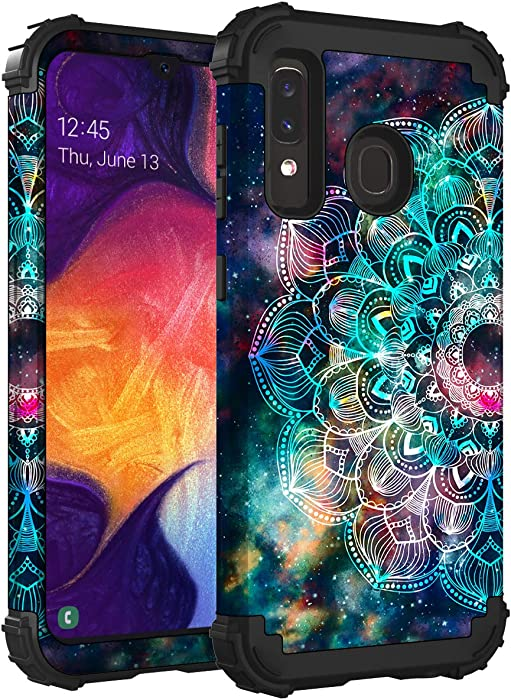 Hocase Galaxy A50/A30/A20 Case, Heavy Duty Shockproof Protection Soft Silicone Rubber Bumper+Hard Plastic Hybrid Protective Case for Samsung Galaxy A50/A30/A20 2019 - Mandala in Galaxy