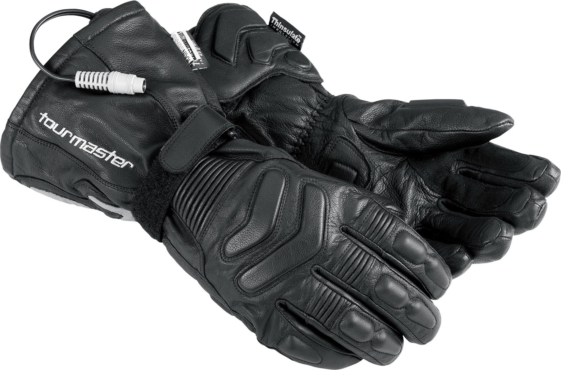Tour Master Synergy 2.0 Electrically Heated Mens Leather Street Racing Motorcycle Gloves - Black / 2X-Large