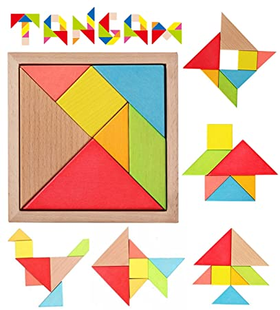 Simple Days Wooden Tangram Jigsaw Mind Puzzle Intelligent Blocks for Kids