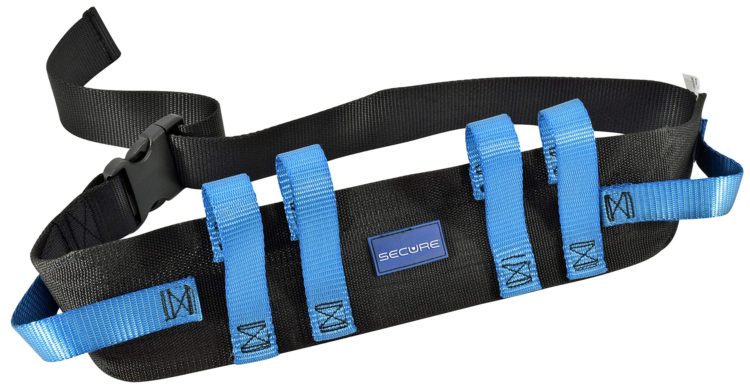 """Secure Transfer Gait Belt with Handles and Quick Release Buckle - Elderly Patient Walking Ambulation Assist Mobility Aid (52""""L x 4""""W, Blue Handle (Quick Release Buckle))"""