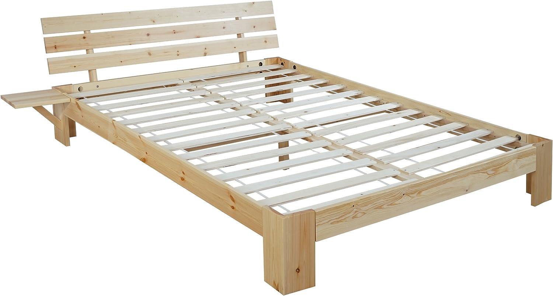 Cama Perth, cama juvenil, madera maciza incl. SOMIER estante Pino ~ 140 x 200 cm, barnizado natural, LED