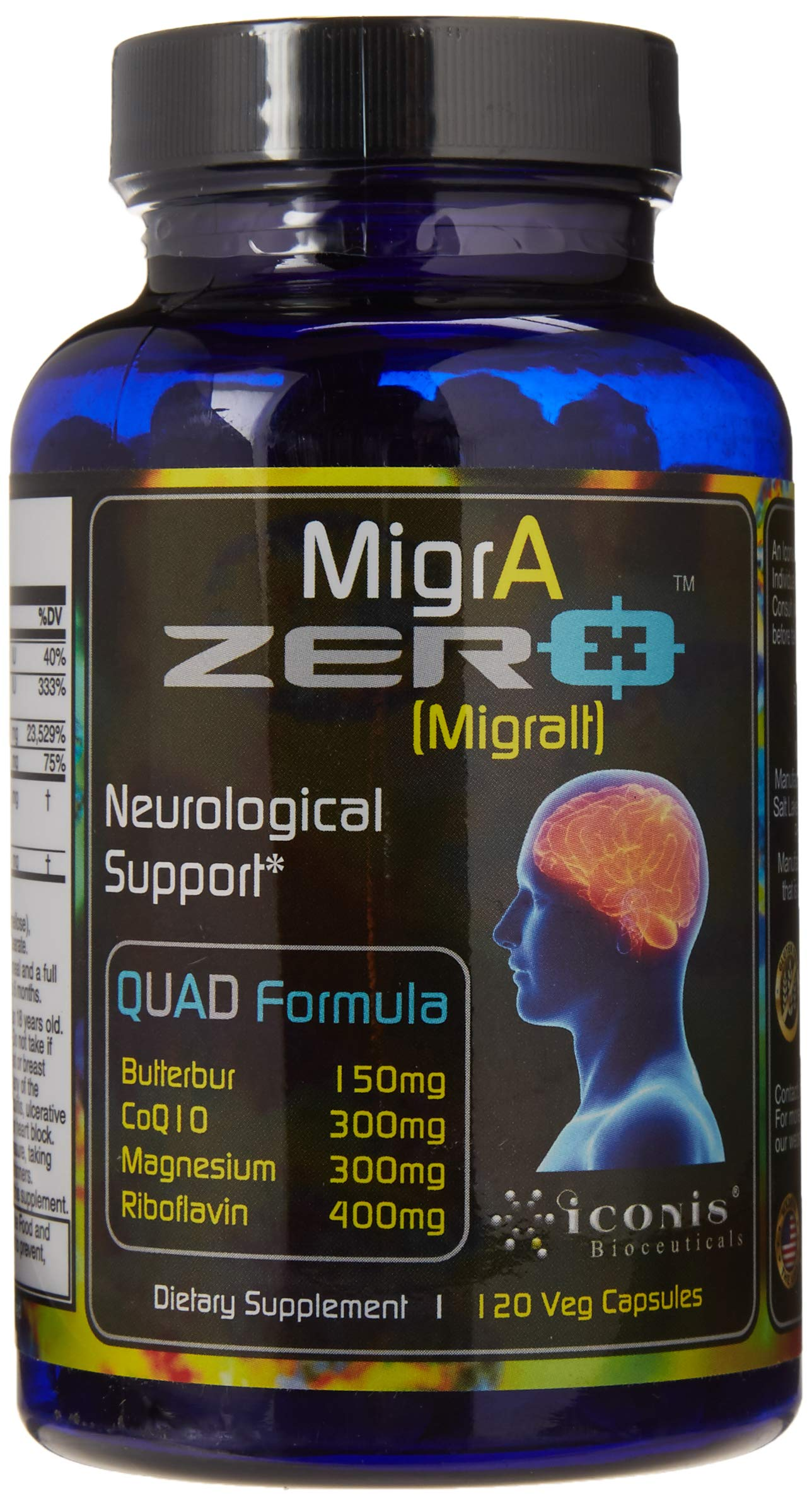 Migraine Relief, Quad-Formula with PA-Free Butterbur (150mg), CoQ10 (300mg), Magnesium Glycinate (300mg), High-Dose Riboflavin (400mg) - MigrA Zero (120 Caps) Optimal Dosing for Migraine Sufferers by Iconis Bioceuticals