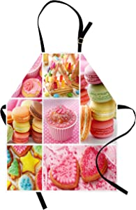 Lunarable Colorful Apron, Collage of Cupcakes Macarons Biscuits Delicious Deserts Candies Heart Shaped Cakes, Unisex Kitchen Bib with Adjustable Neck for Cooking Gardening, Adult Size, Pink