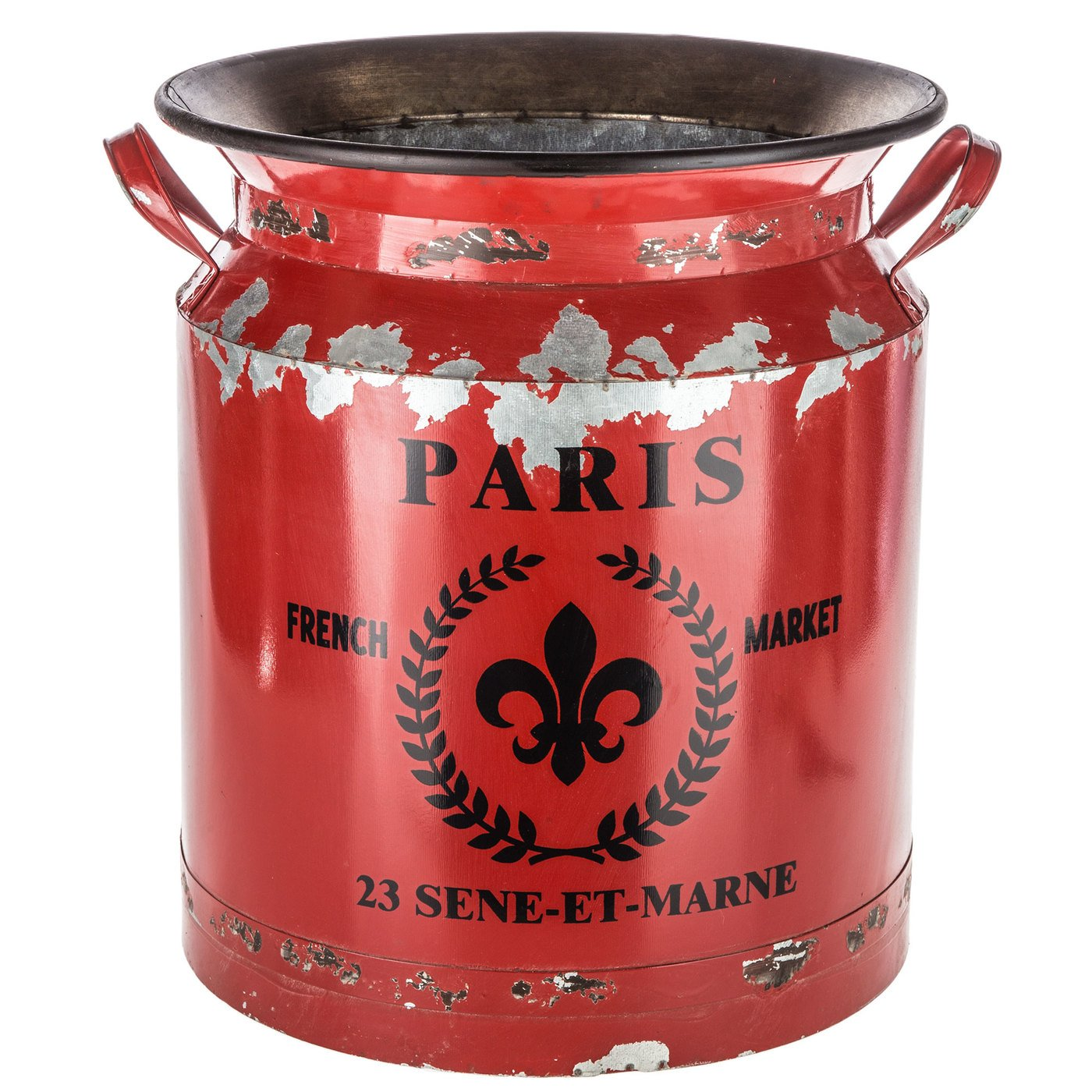 Rustic Vintage Red Paris Milk Can Distressed French Style Country Rustic Primitive Jug Vase Milk Can for Home Decoration