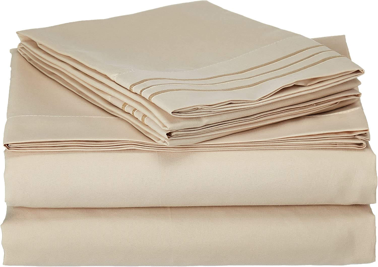 Sweet Home Collection Supreme 1800 Series 4pc Bed Sheet Set Egyptian Quality Deep Pocket - Queen, Beige