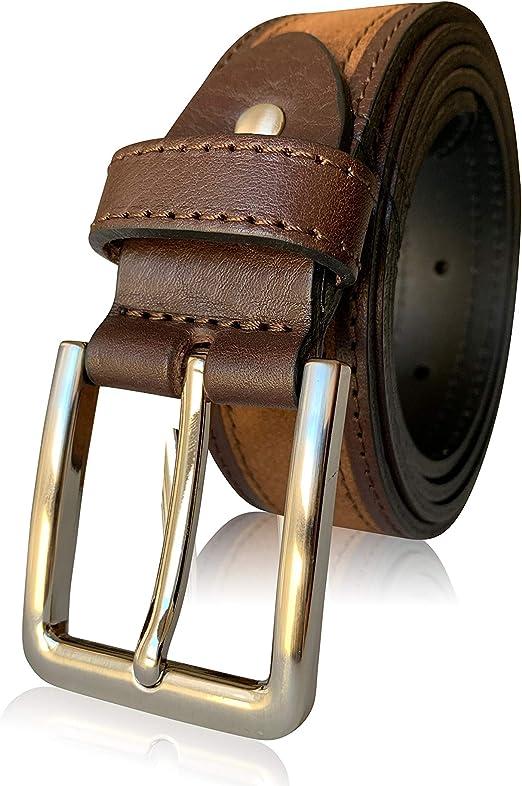 LEGADO Cinturón Hombre piel marrón de vacuno serraje marrón hecho ...