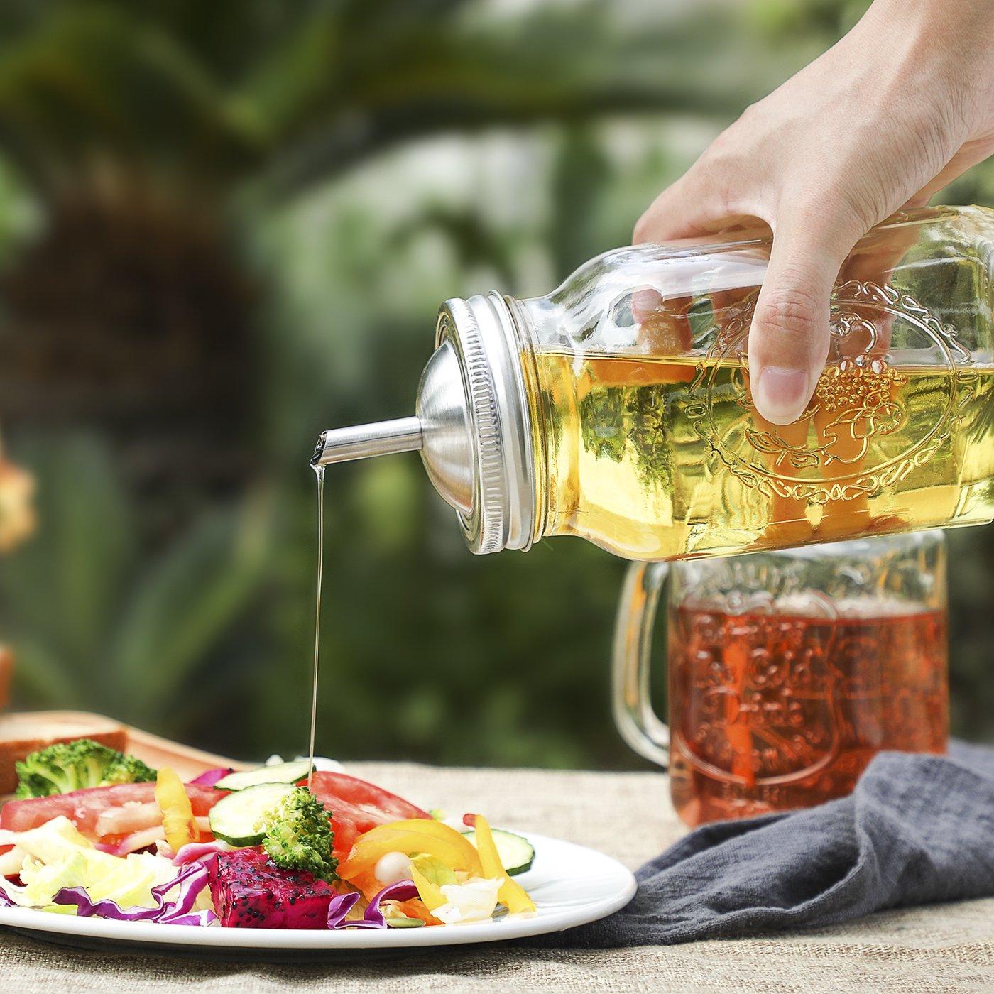 db35b955ff60 Aozita Mason Jar lids Pour Spout with Caps for Olive Oil Dispenser ...