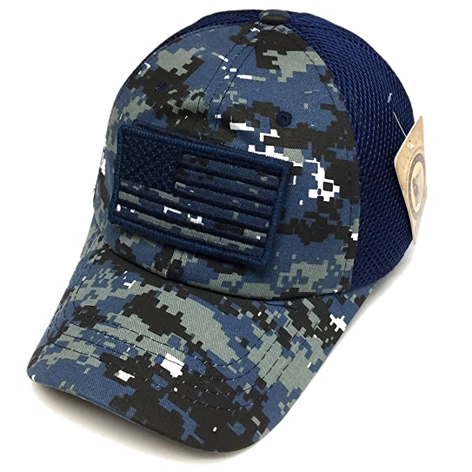 Military US Army Navy Blue Digital Camo Vintage Cotton Cap USA Flag ... 8d5b412a54a