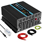 Pooxtra 1000W Pure Sine Wave Power Inverter 4 AC Receptacles Dual USB Ports 12VDC to 110V 120VAC Car Inverter with Remote Control and LED Display (Surge 2000Watts)