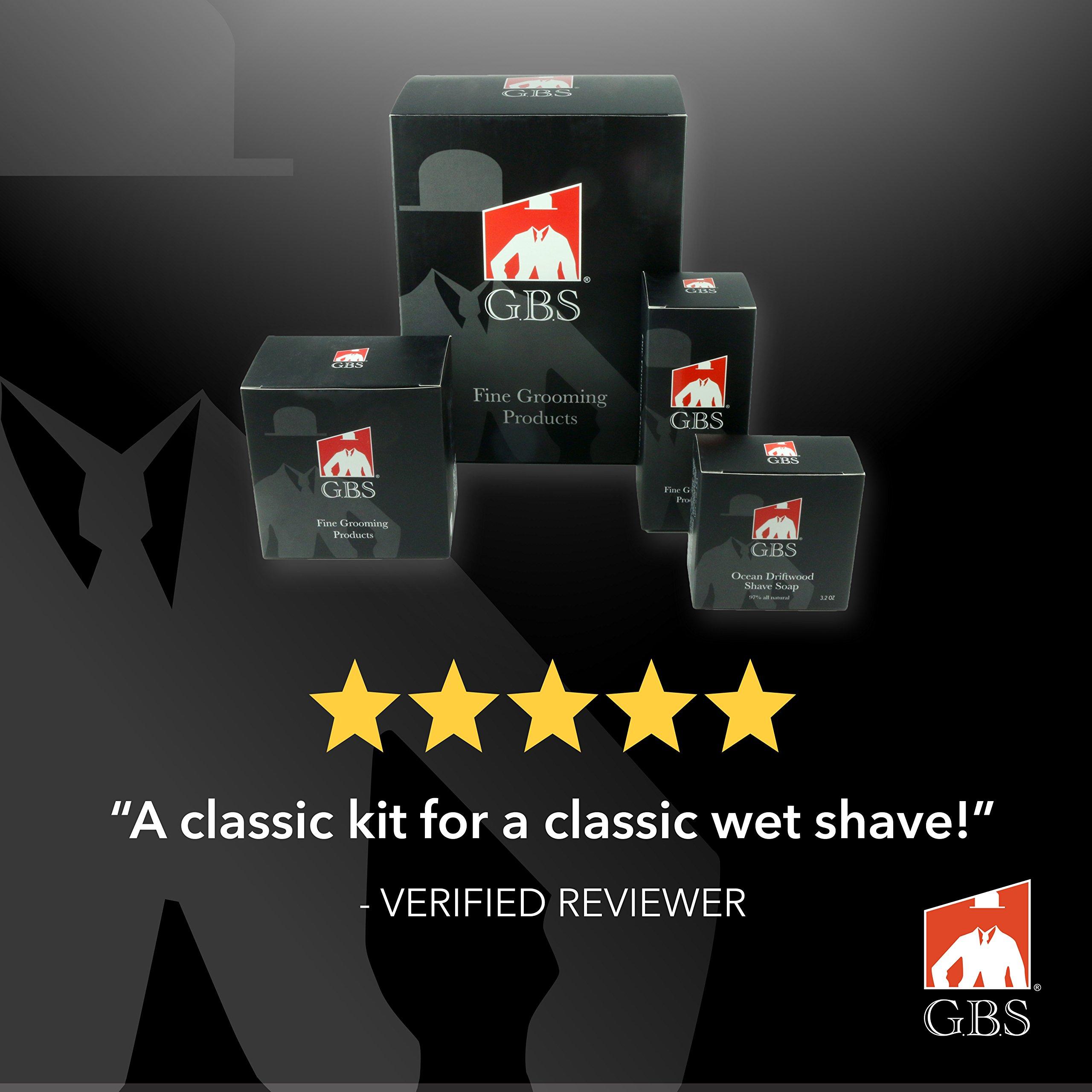 GBS Men Luxury Straight Razor Shaving Set 9 Pcs: 5/8'' Black Carbon Cut Throat Razor + Case, Leather Razor Strop, Pure Badger Brush, Wooden Bowl + Soap, Brush & Razor Stand, Honing Paste, Alum Block by GBS