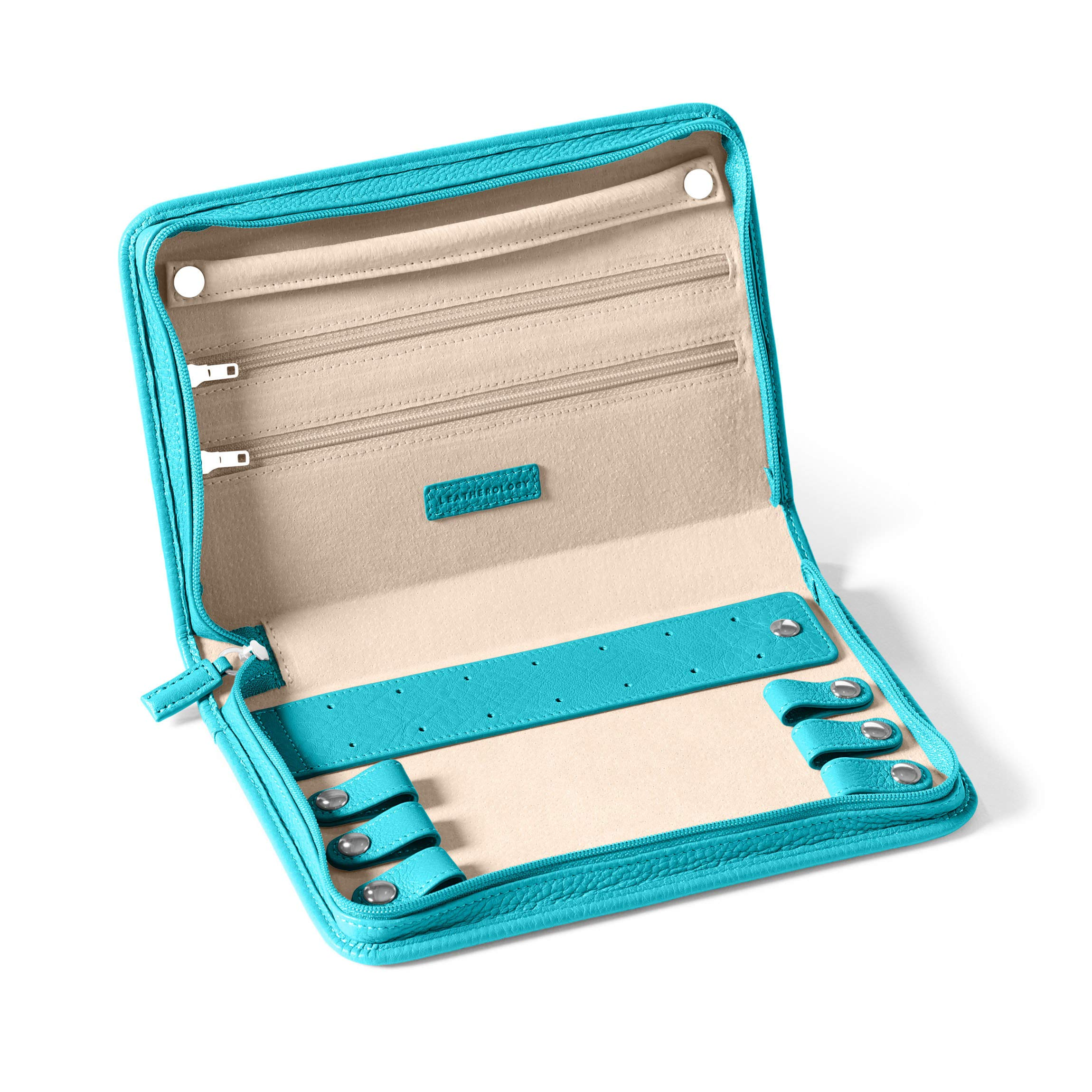 Large Jewelry Case - Full Grain Leather - Teal (blue)