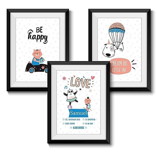 Personalisierter Kunstdruck Din A4 Format 3er Set