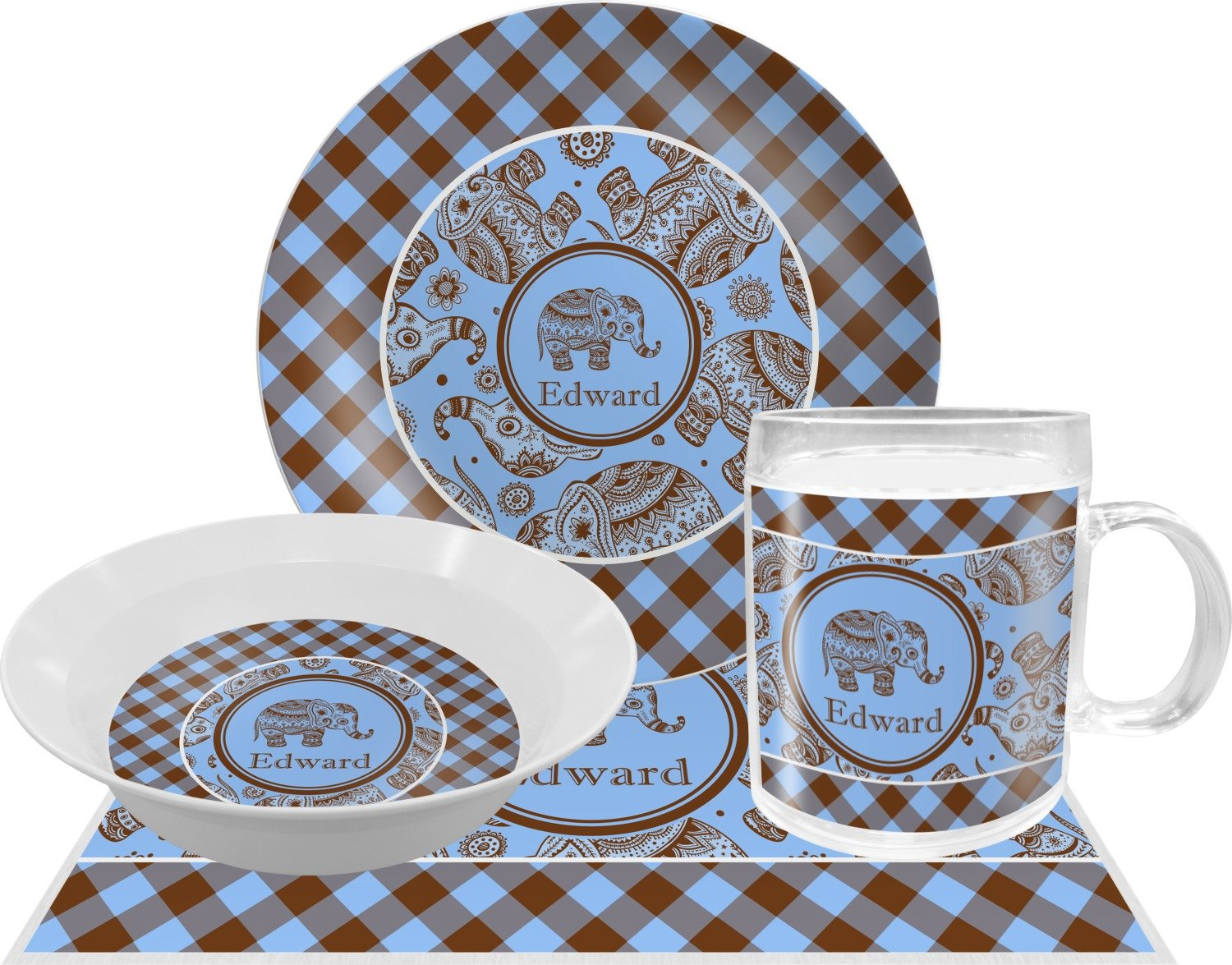 Gingham & Elephants Dinner Set - 4 Pc (Personalized)