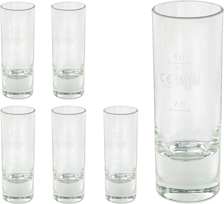 6 Wachtmeister Stamper 2cl Schnapsgläser Likörgläser Glas geeicht