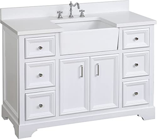 Zelda 48-inch Bathroom Vanity Quartz White Includes a Quartz Countertop, White Cabinet with Soft Close Doors Drawers, and White Ceramic Farmhouse Apron Sink