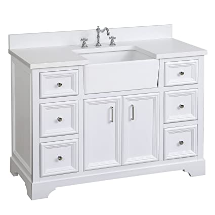 Zelda 48 Inch Bathroom Vanity (Quartz/White): Includes A Quartz Countertop