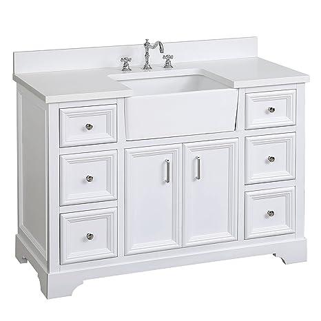 Zelda 48 Inch Bathroom Vanity Quartz White Includes A Quartz Countertop White Cabinet With Soft Close Doors Drawers And White Ceramic Farmhouse