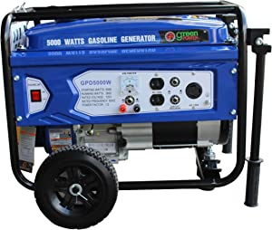 Green-Power America GPD5000W 5000W Gasoline Generator, Blue/Black