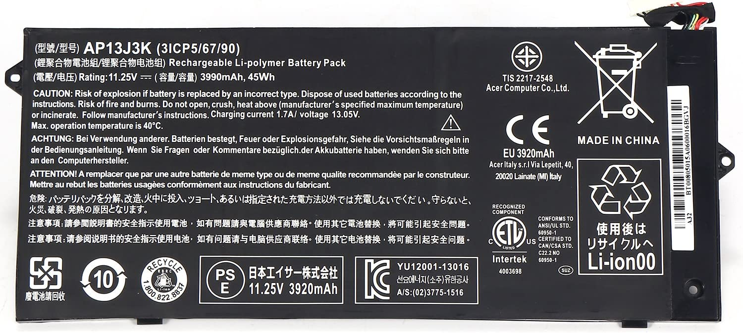 "IMK Replacement Battery for 11.25V 3990mAh 45wh Battery for Acer Chromebook 11.6"" C720-2848 C720 C720P C740 Laptop AP13J3K 3ICP5/65/88"