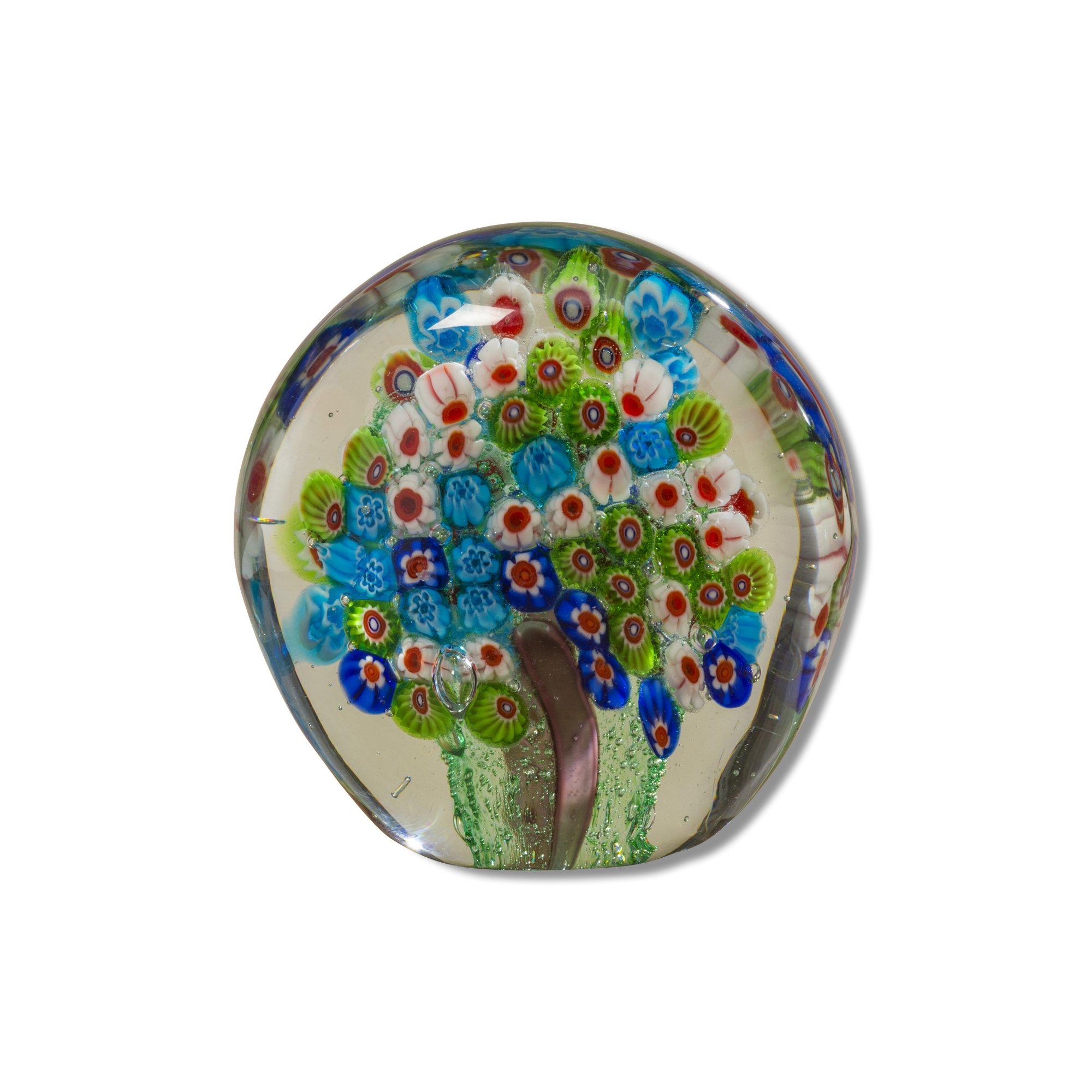 Whole House Worlds The Naturally Modern Blue Millefleurs Paperweight, Handcrafted, Art Glass, Round Drop Shape, 3 1/2 L x 2 W x 3 1/2 H, Flat Bottom, By